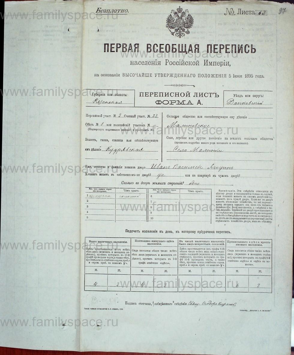 Поиск по фамилии - Первая всеобщая перепись населения Российской империи 1897 года, Рязанская губерния, Данковский уезд, страница 607