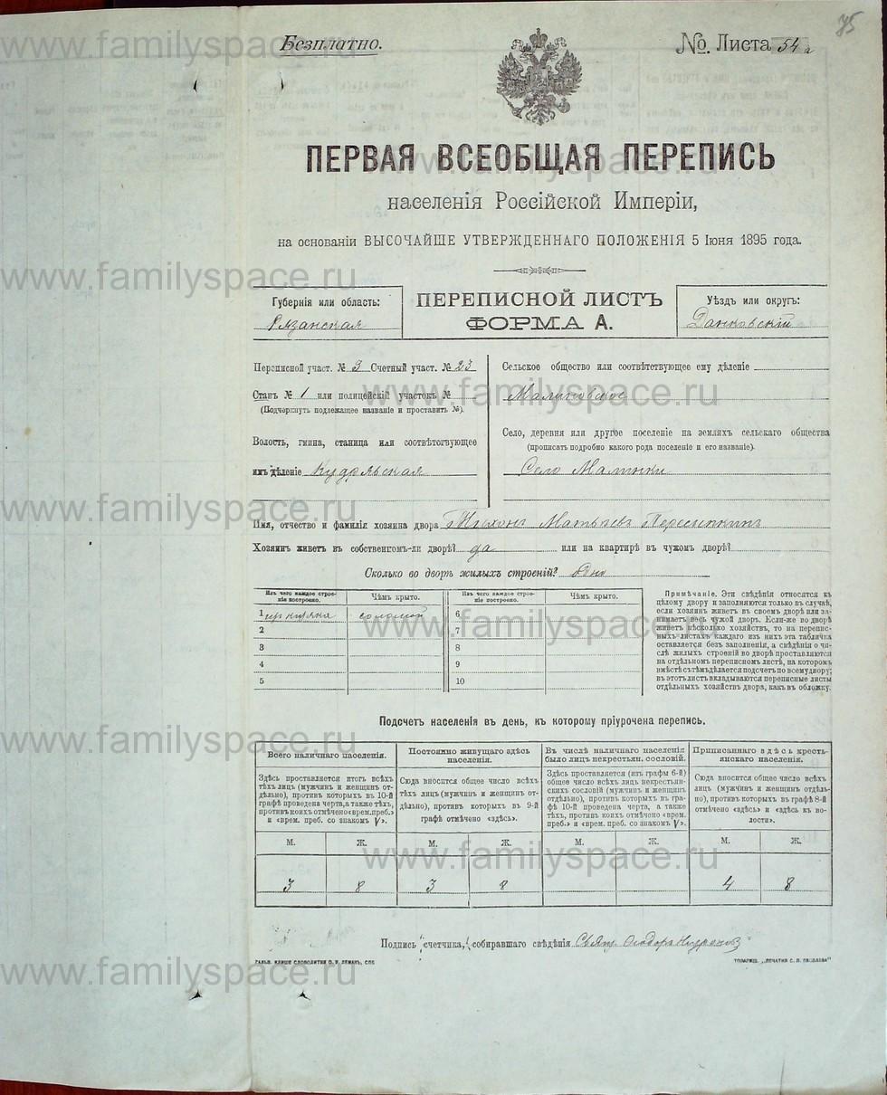 Поиск по фамилии - Первая всеобщая перепись населения Российской империи 1897 года, Рязанская губерния, Данковский уезд, страница 587