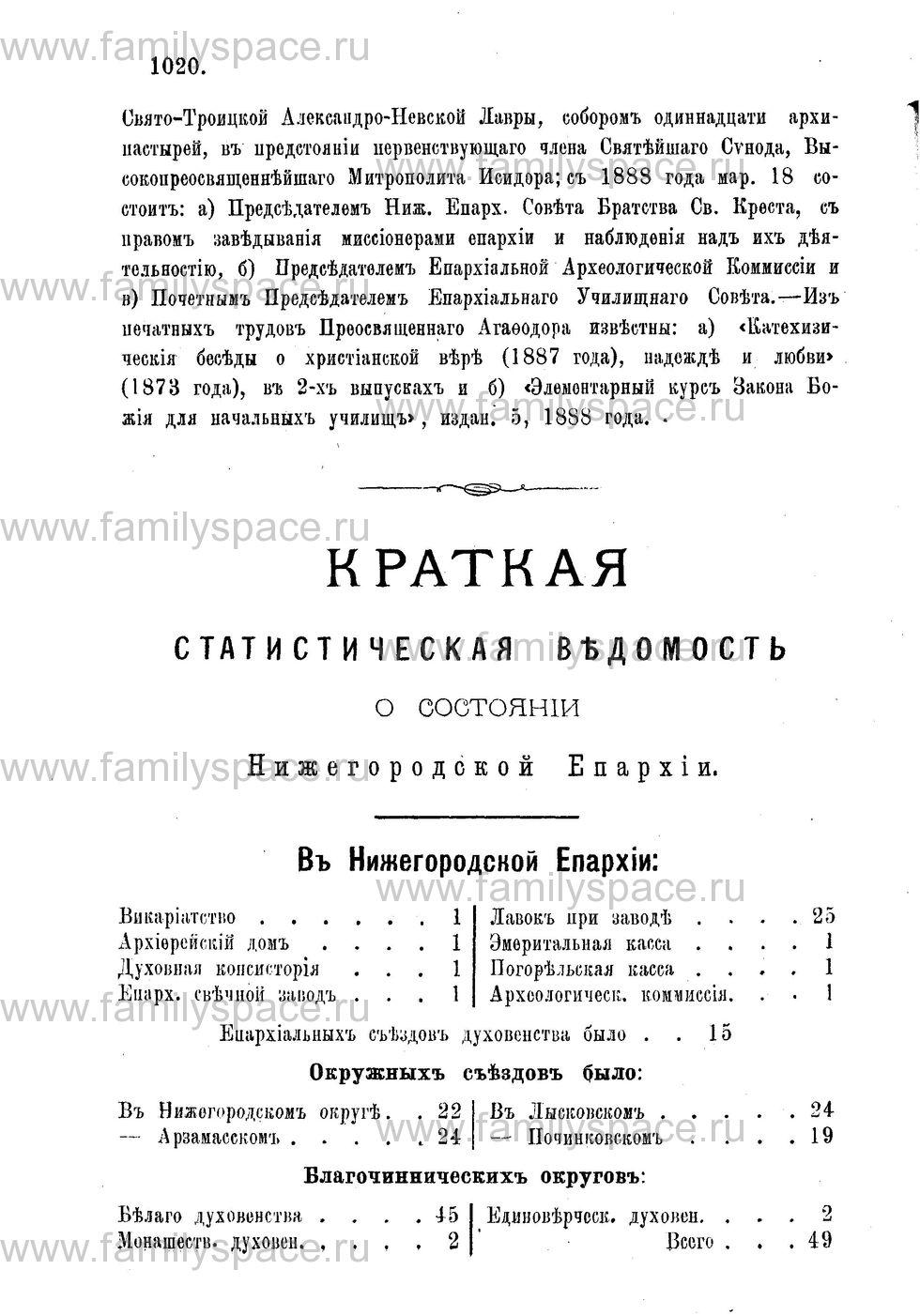 Поиск по фамилии - Адрес-календарь Нижегородской епархии на 1888 год, страница 2020