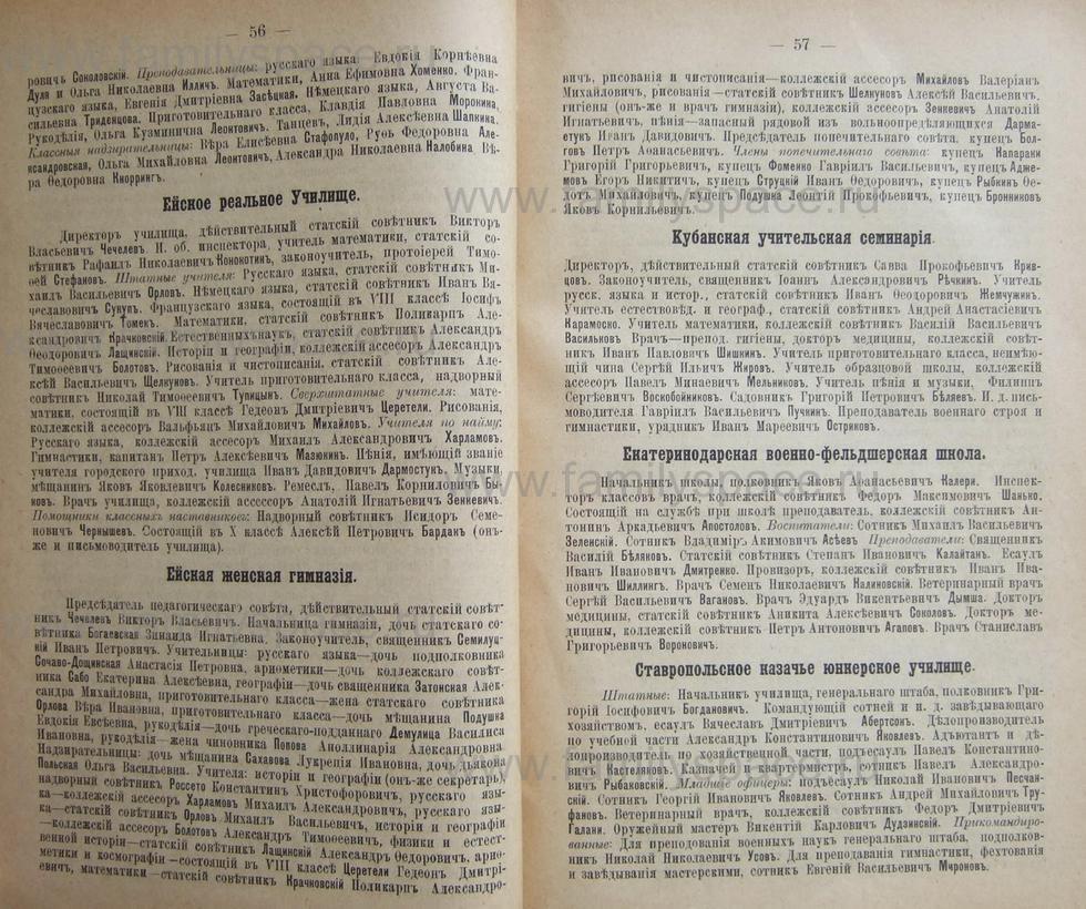 Поиск по фамилии - Кубанский календарь на 1898 год, страница 1056