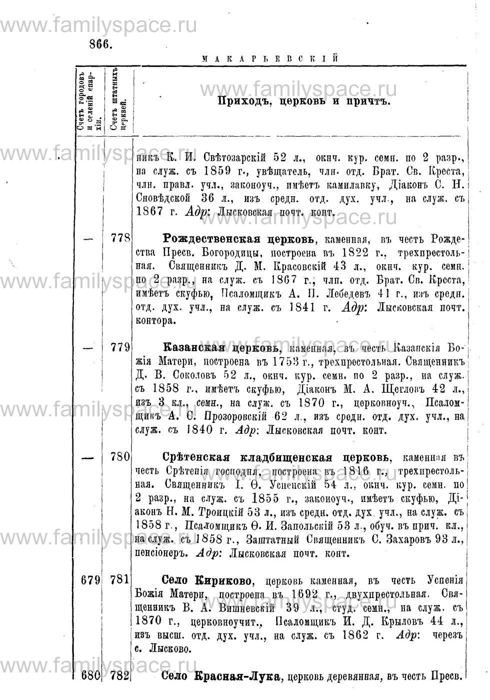 Поиск по фамилии - Адрес-календарь Нижегородской епархии на 1888 год, страница 1866