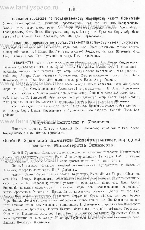 Поиск по фамилии - Памятная книжка Уральской области на 1913 год, страница 136