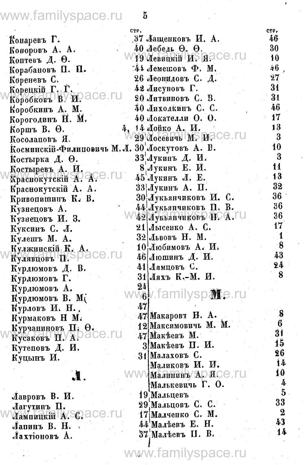Поиск по фамилии - Адрес-календарь Курской губернии на 1853 год, страница 2005