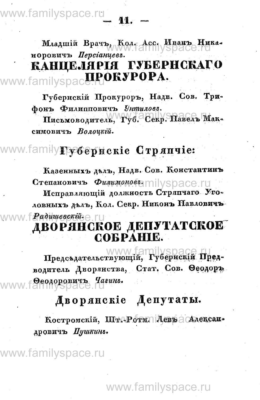 Поиск по фамилии - Памятная книжка Костромской губернии на 1853 год, страница 11