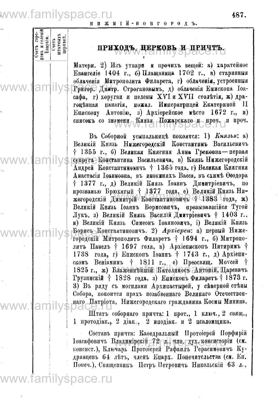Поиск по фамилии - Адрес-календарь Нижегородской епархии на 1888 год, страница 1487
