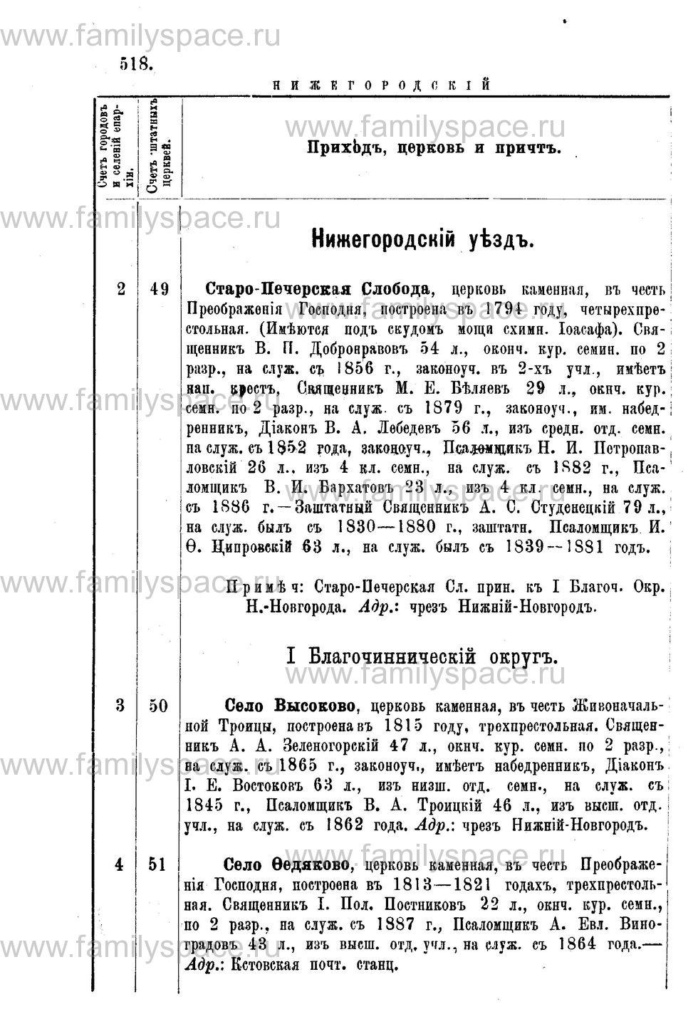 Поиск по фамилии - Адрес-календарь Нижегородской епархии на 1888 год, страница 1518