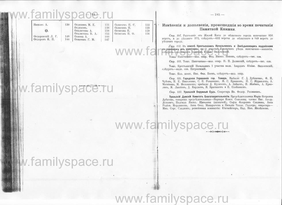 Поиск по фамилии - Памятная книжка Уральской области на 1913 год, страница 184