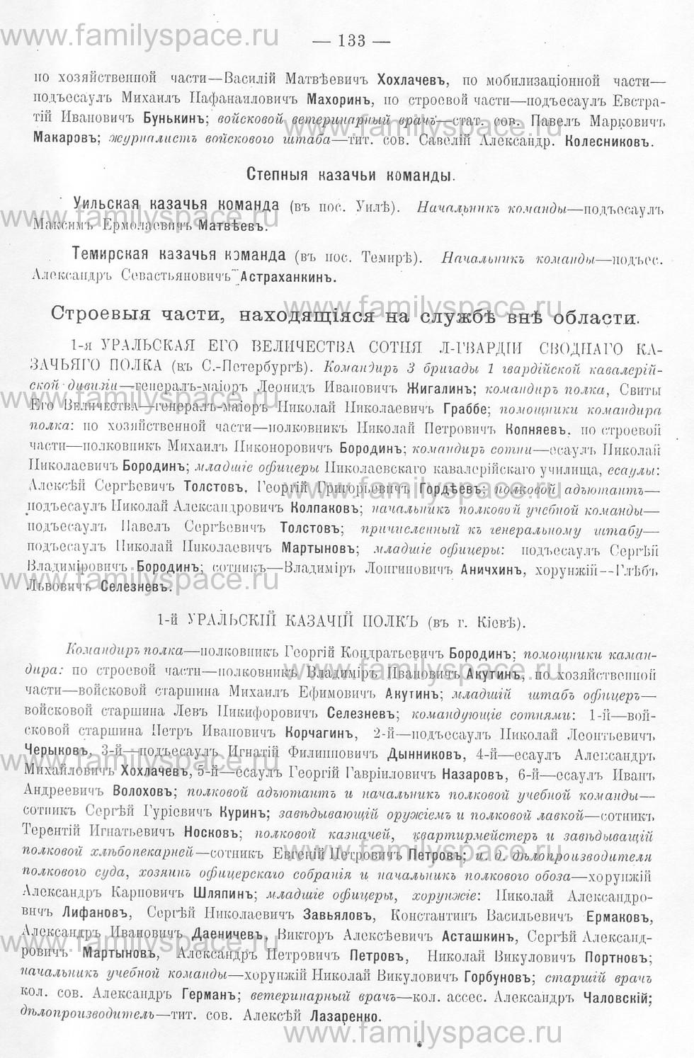 Поиск по фамилии - Памятная книжка Уральской области на 1913 год, страница 133