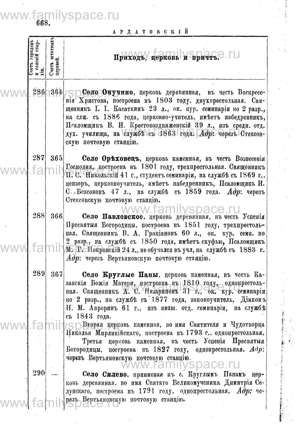 Поиск по фамилии - Адрес-календарь Нижегородской епархии на 1888 год, страница 1668