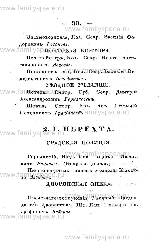 Поиск по фамилии - Памятная книжка Костромской губернии на 1853 год, страница 33
