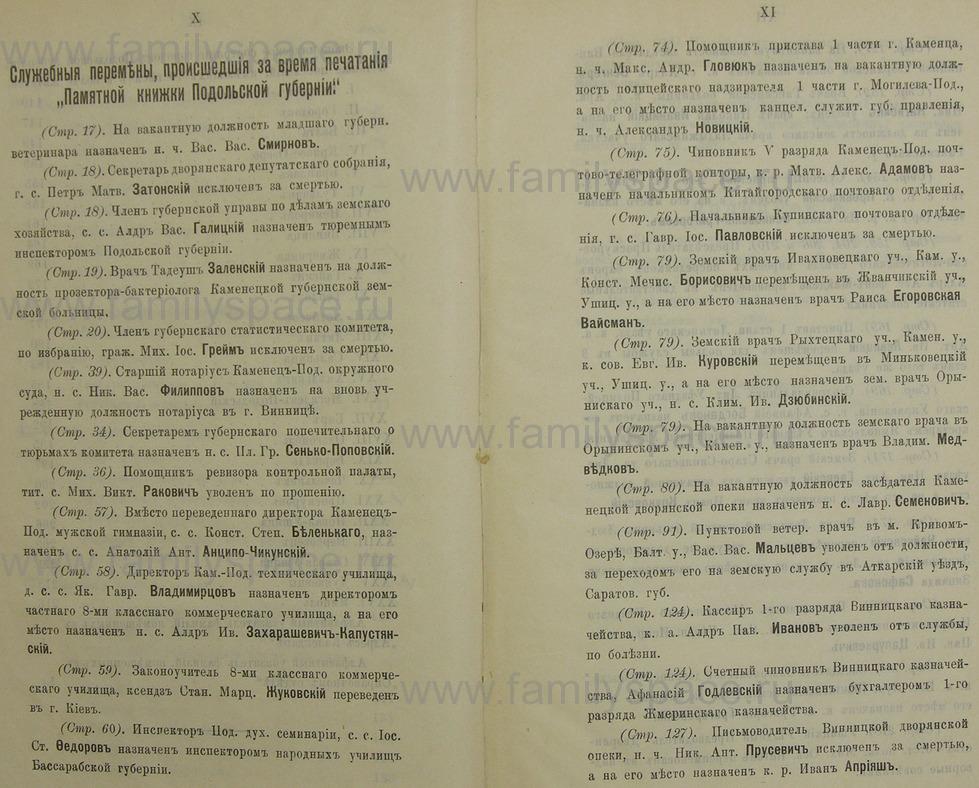 Поиск по фамилии - Памятная книжка Подольской губернии на 1911 год, страница 1010