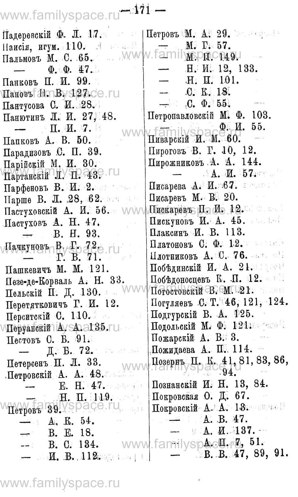 Поиск по фамилии - Адрес-календарь Нижегородской губернии на 1891 год, страница 171