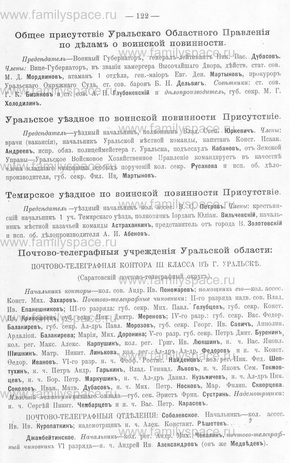 Поиск по фамилии - Памятная книжка Уральской области на 1913 год, страница 122