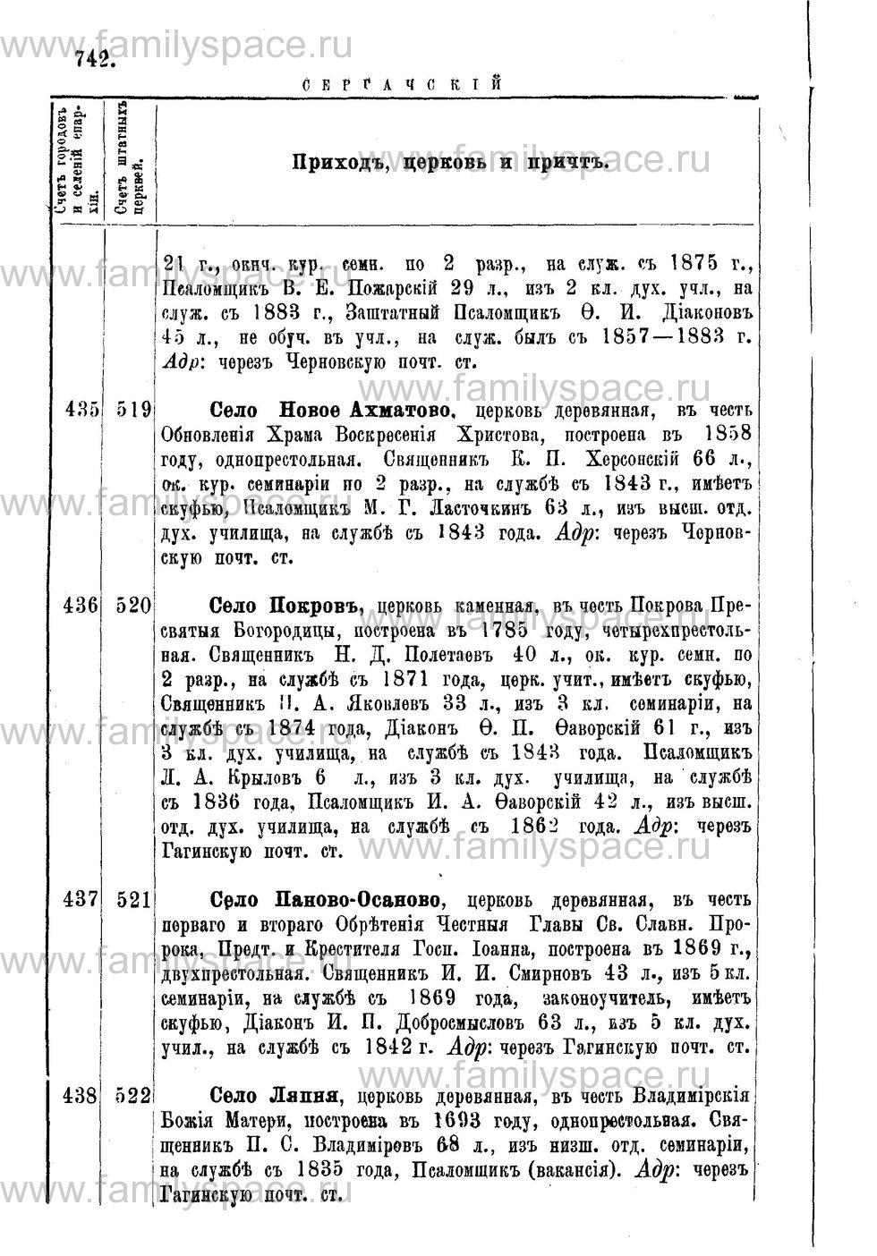 Поиск по фамилии - Адрес-календарь Нижегородской епархии на 1888 год, страница 1742