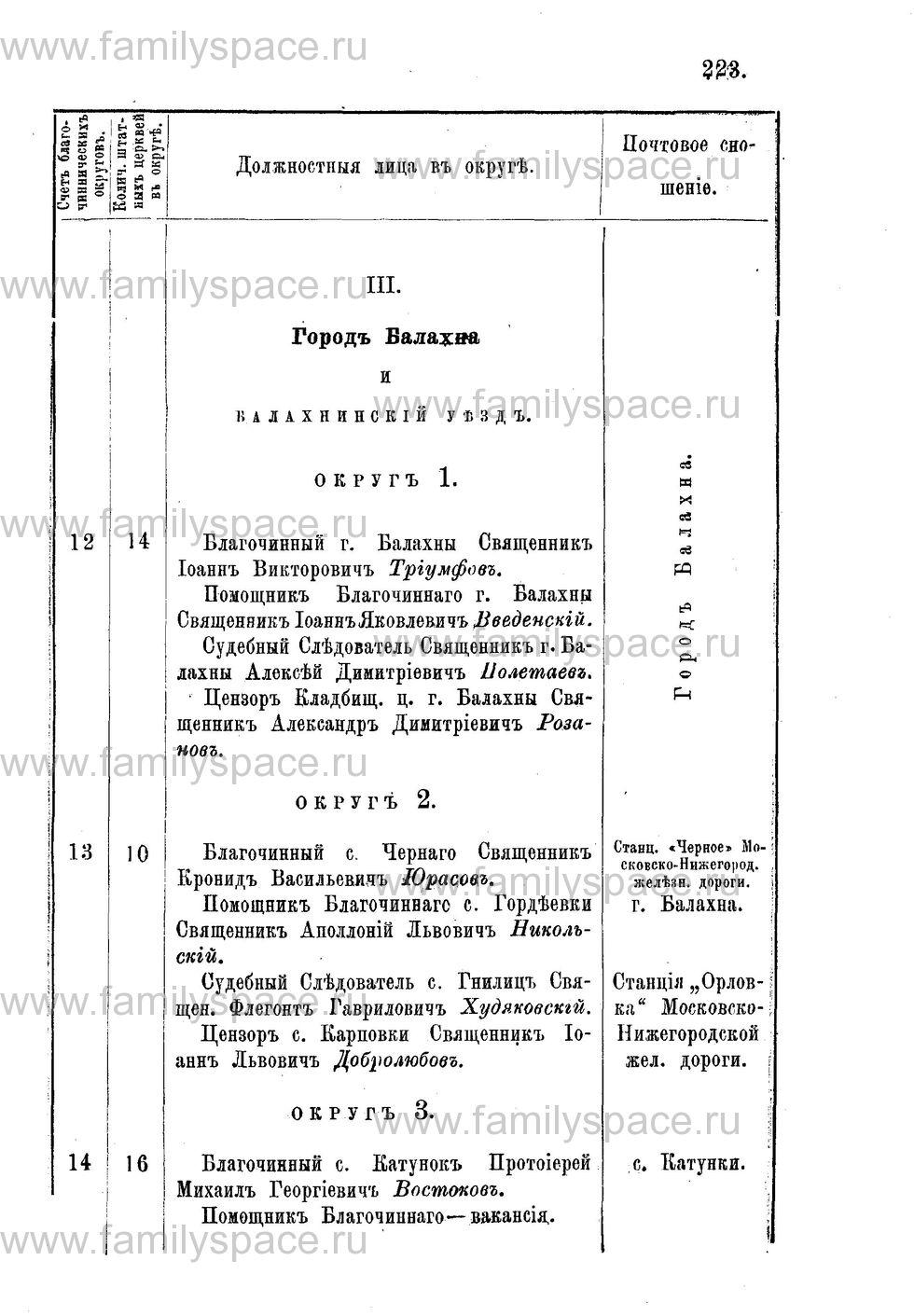 Поиск по фамилии - Адрес-календарь Нижегородской епархии на 1888 год, страница 1223