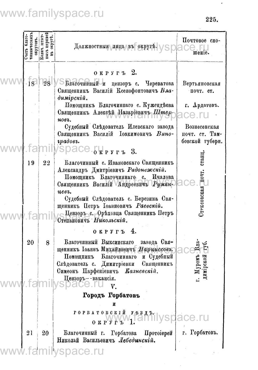 Поиск по фамилии - Адрес-календарь Нижегородской епархии на 1888 год, страница 1225