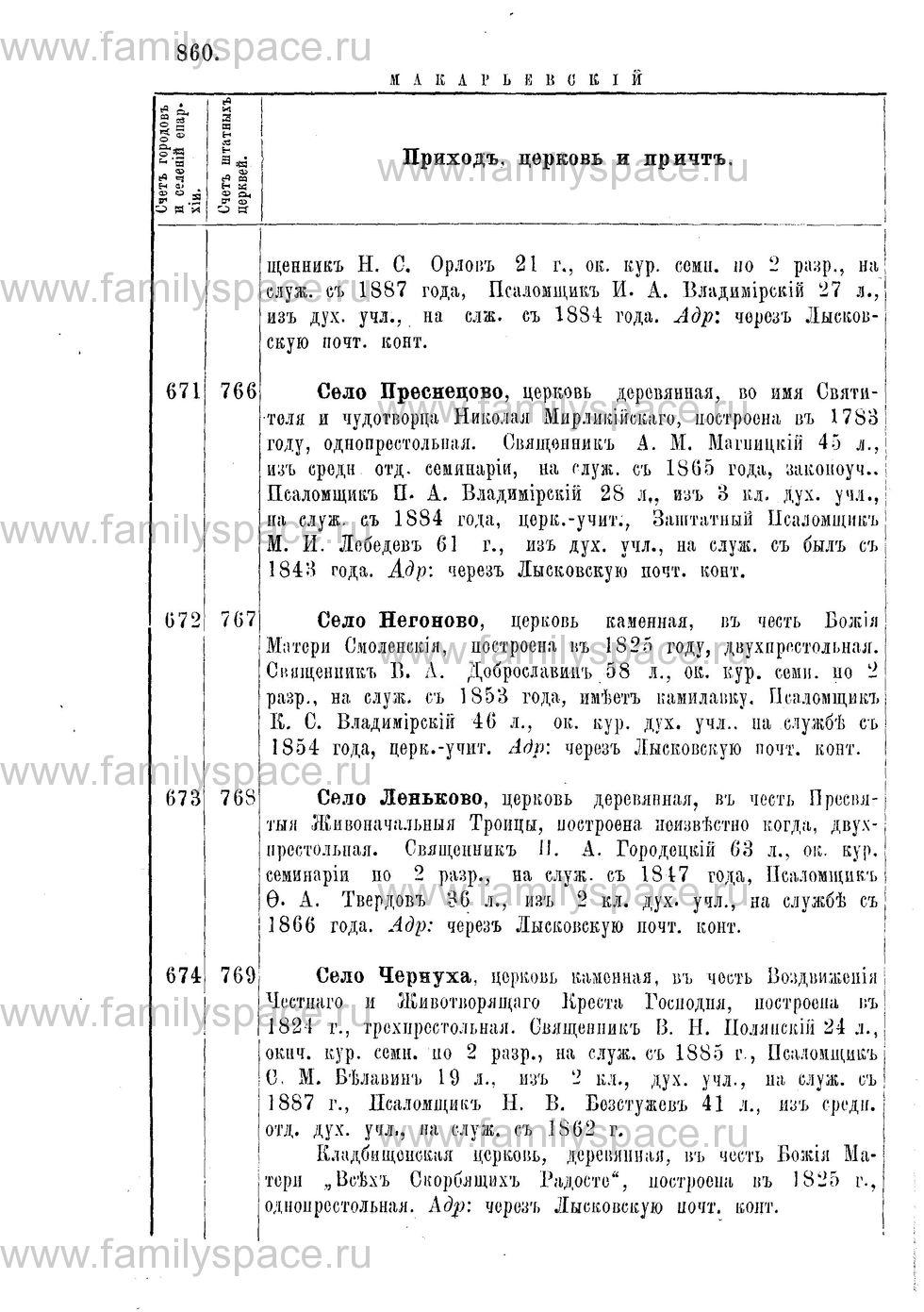 Поиск по фамилии - Адрес-календарь Нижегородской епархии на 1888 год, страница 1860