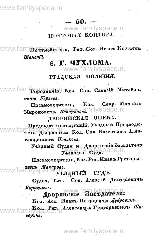 Поиск по фамилии - Памятная книжка Костромской губернии на 1853 год, страница 50