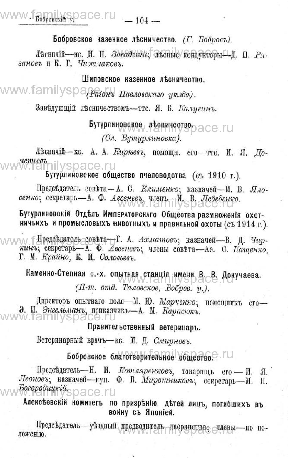 Поиск по фамилии - Памятная книжка Воронежской губернии на 1915 год, страница 4104