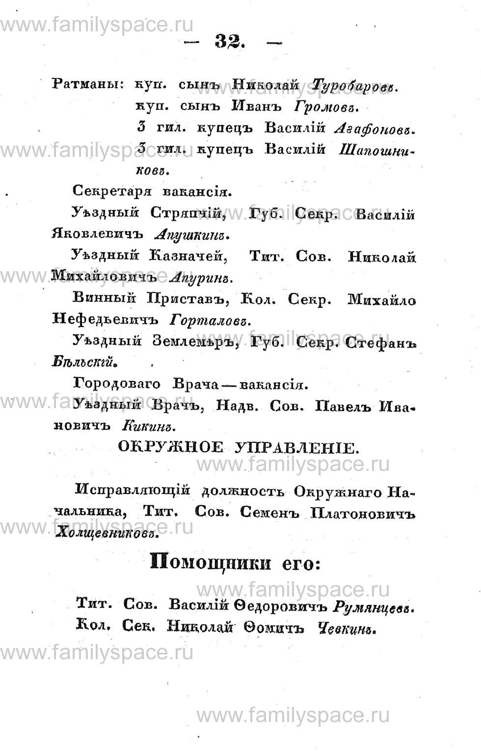 Поиск по фамилии - Памятная книжка Костромской губернии на 1853 год, страница 32
