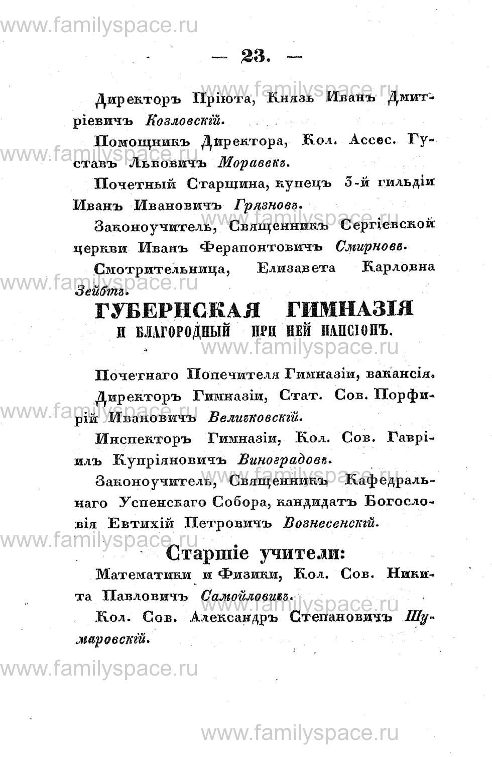 Поиск по фамилии - Памятная книжка Костромской губернии на 1853 год, страница 23