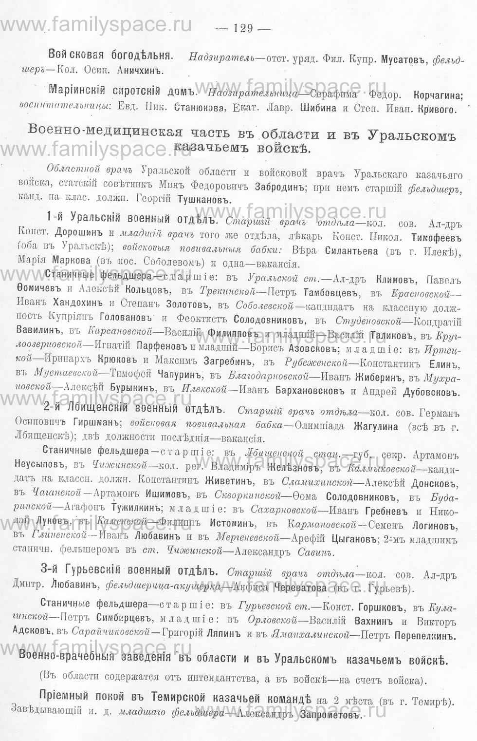 Поиск по фамилии - Памятная книжка Уральской области на 1913 год, страница 129