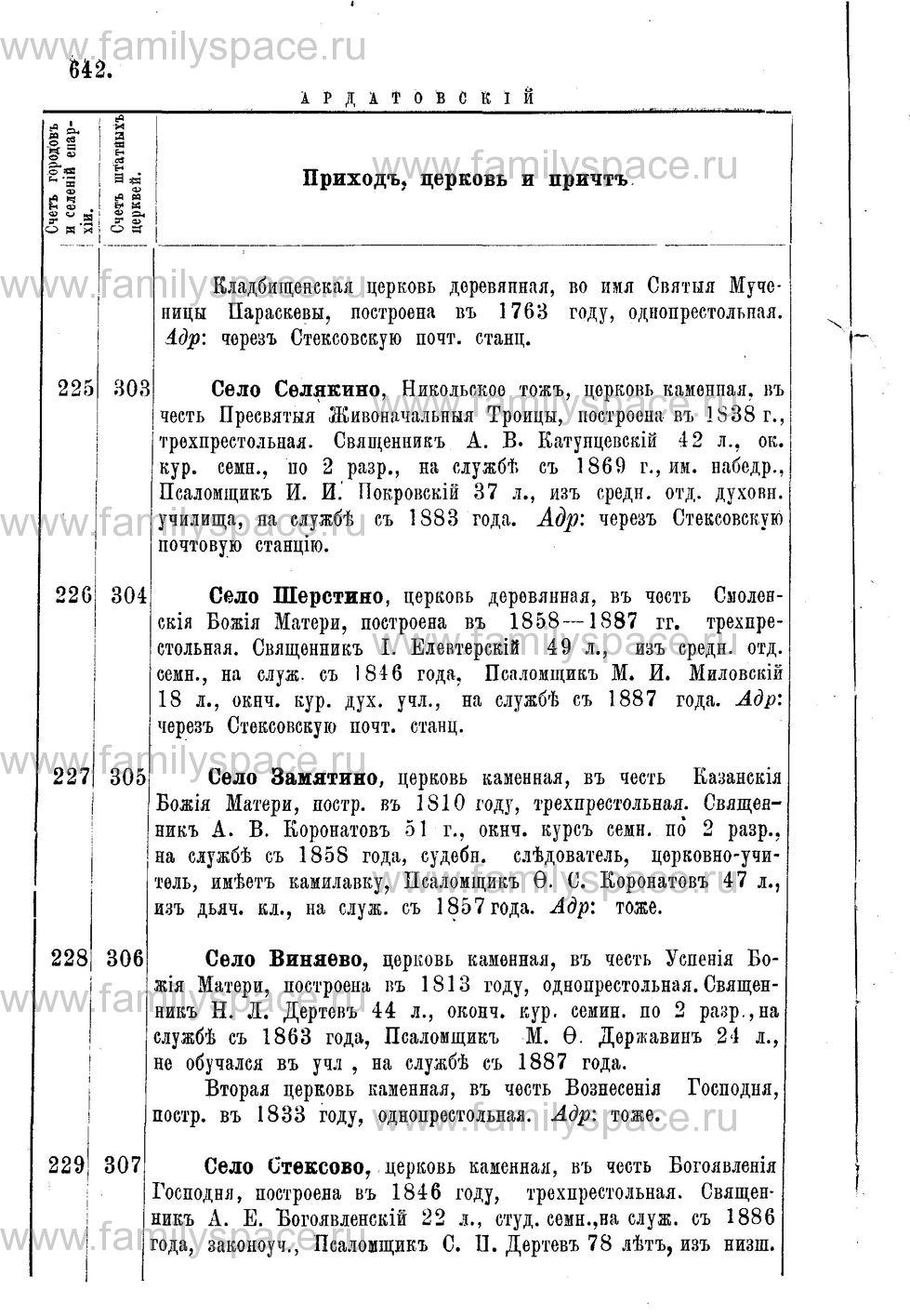 Поиск по фамилии - Адрес-календарь Нижегородской епархии на 1888 год, страница 1642