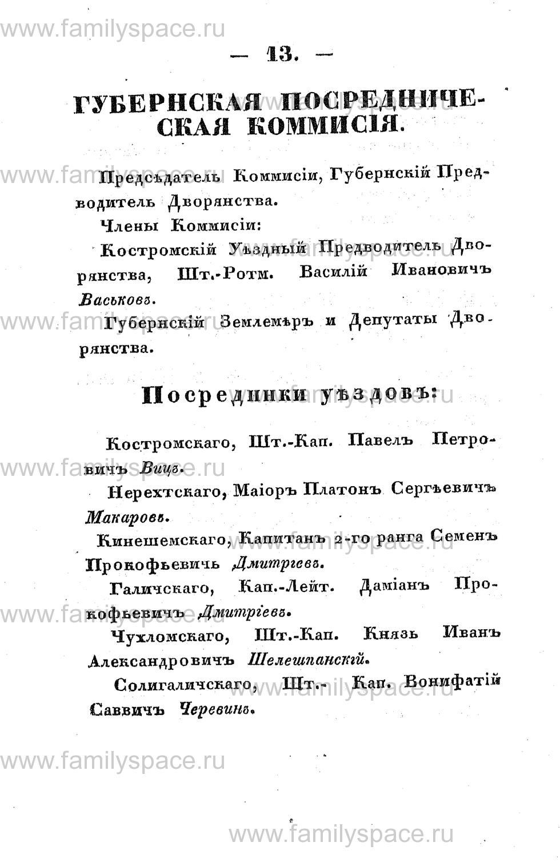 Поиск по фамилии - Памятная книжка Костромской губернии на 1853 год, страница 13