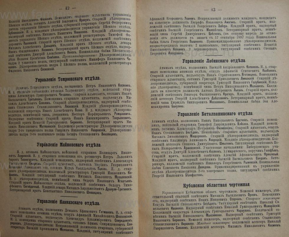 Поиск по фамилии - Кубанский календарь на 1898 год, страница 1042