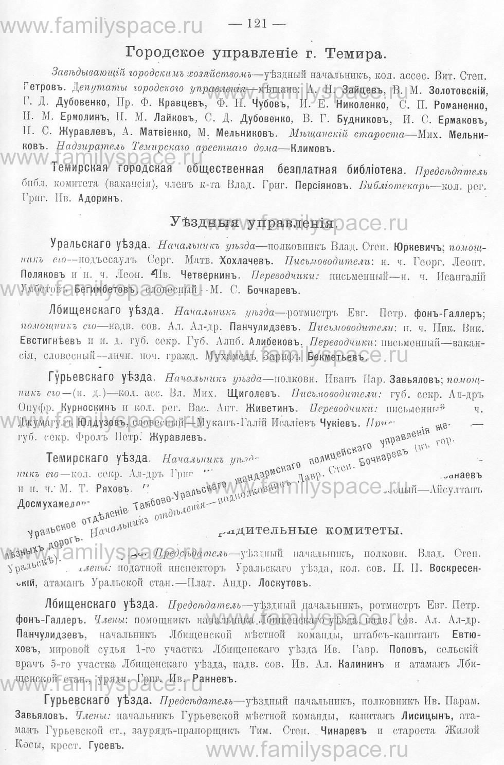 Поиск по фамилии - Памятная книжка Уральской области на 1913 год, страница 121
