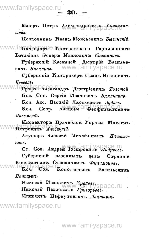 Поиск по фамилии - Памятная книжка Костромской губернии на 1853 год, страница 20