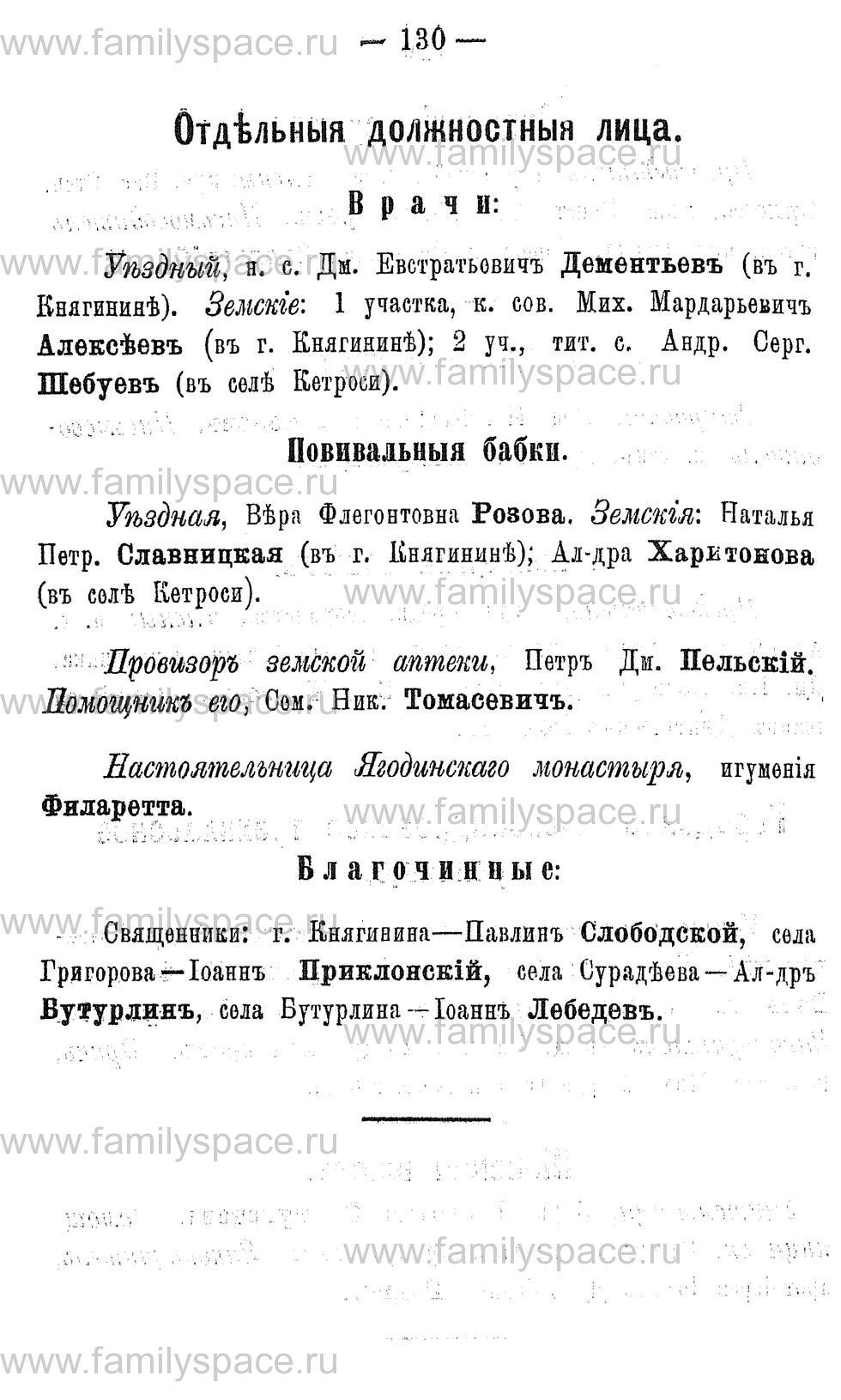 Поиск по фамилии - Адрес-календарь Нижегородской губернии на 1891 год, страница 130