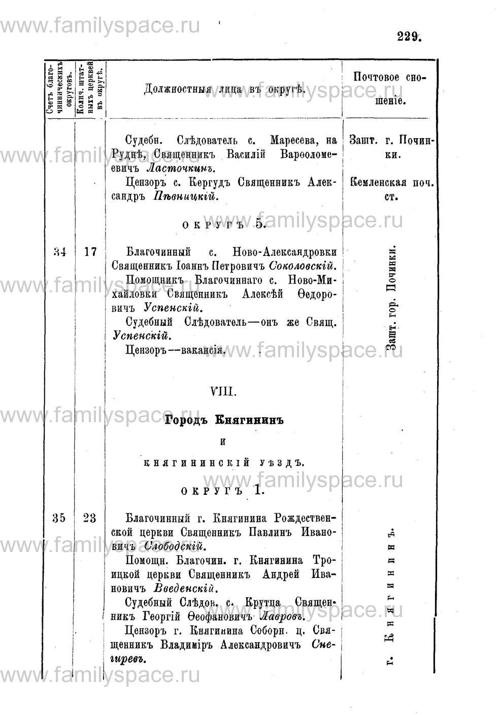 Поиск по фамилии - Адрес-календарь Нижегородской епархии на 1888 год, страница 1229