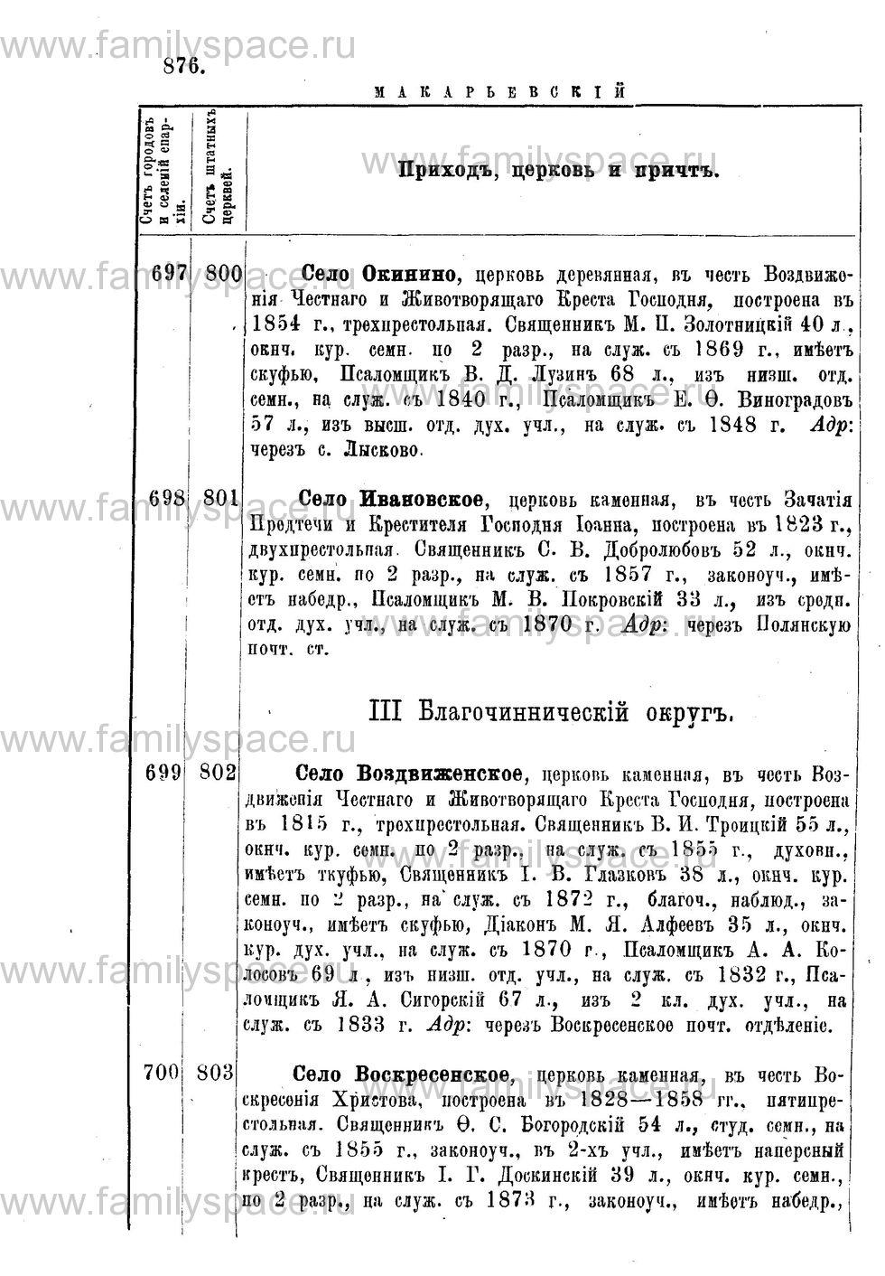 Поиск по фамилии - Адрес-календарь Нижегородской епархии на 1888 год, страница 1876