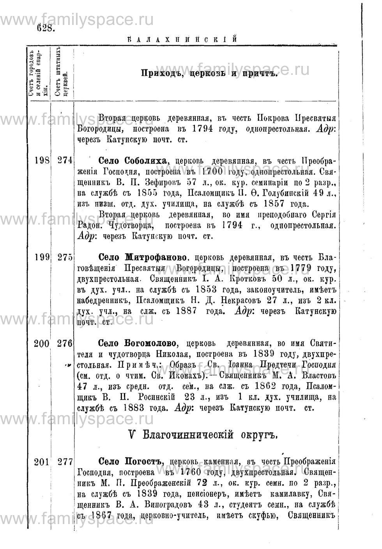 Поиск по фамилии - Адрес-календарь Нижегородской епархии на 1888 год, страница 1628