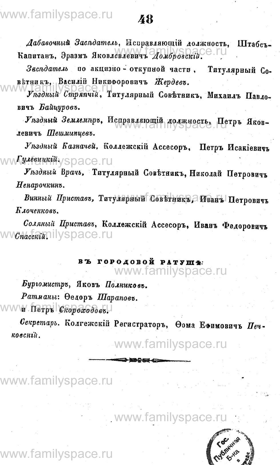 Поиск по фамилии - Адрес-календарь Курской губернии на 1853 год, страница 1048