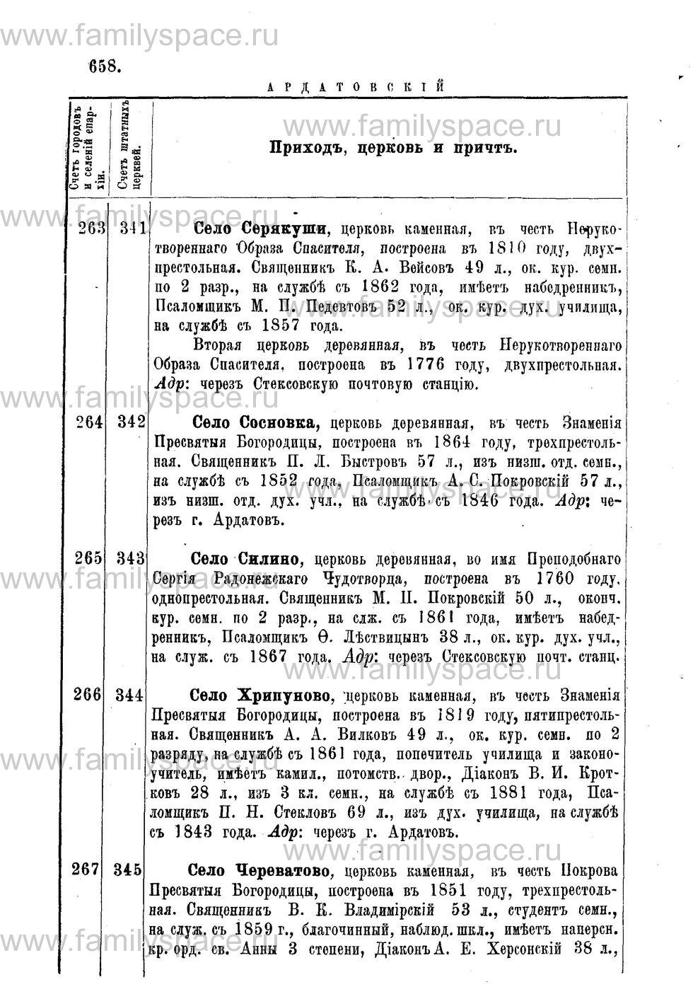 Поиск по фамилии - Адрес-календарь Нижегородской епархии на 1888 год, страница 1658
