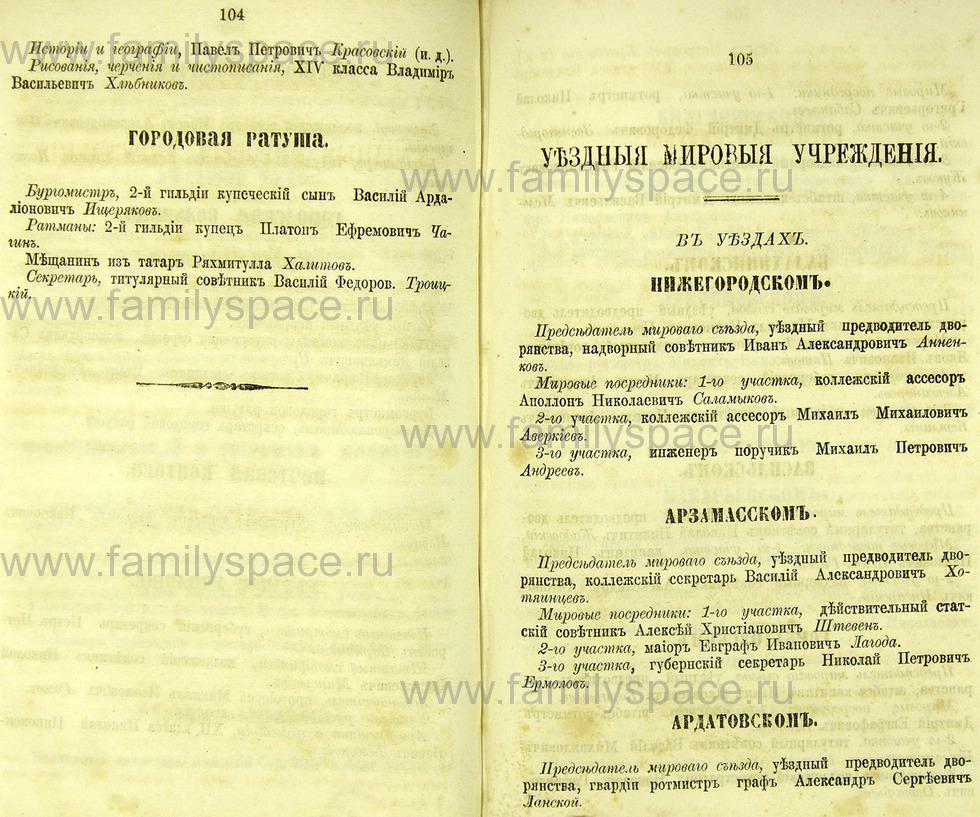 Поиск по фамилии - Памятная книжка Нижегородской губернии на 1865 год, страница 2104