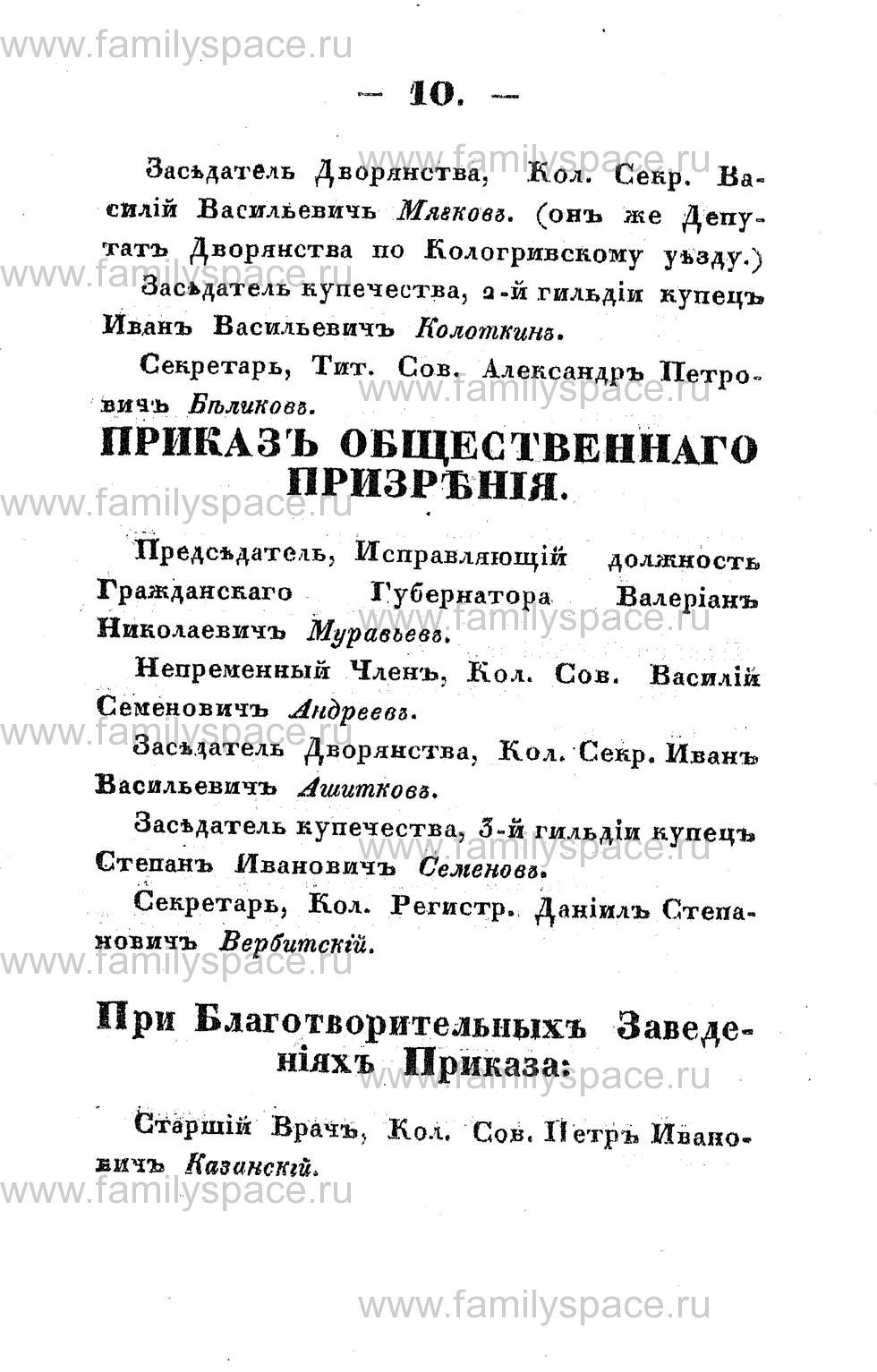 Поиск по фамилии - Памятная книжка Костромской губернии на 1853 год, страница 10