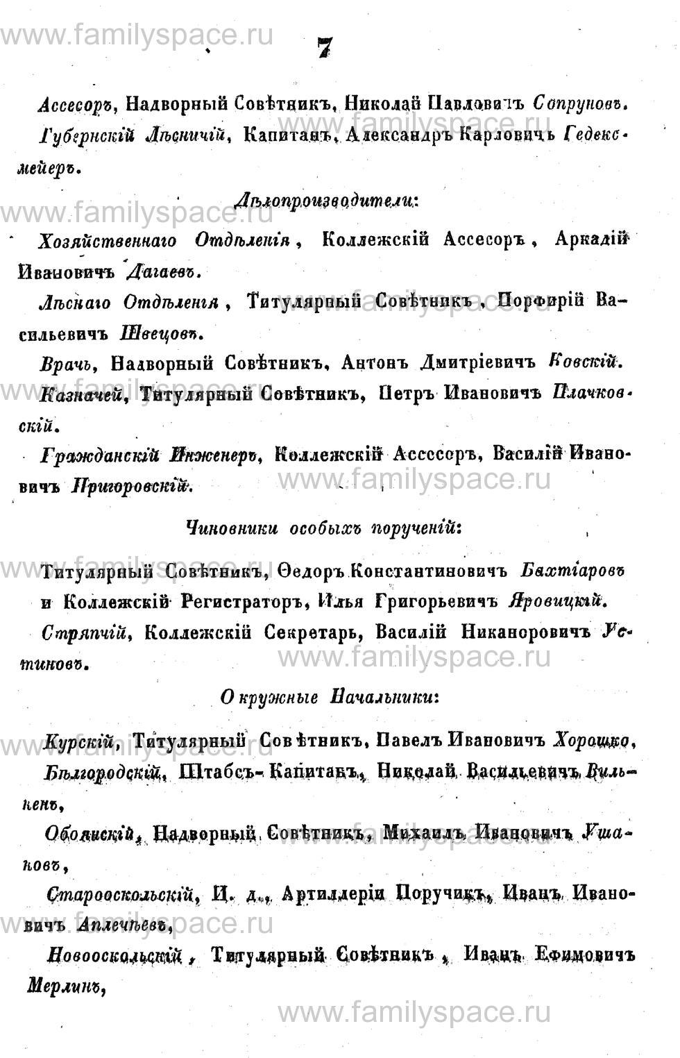 Поиск по фамилии - Адрес-календарь Курской губернии на 1853 год, страница 1007
