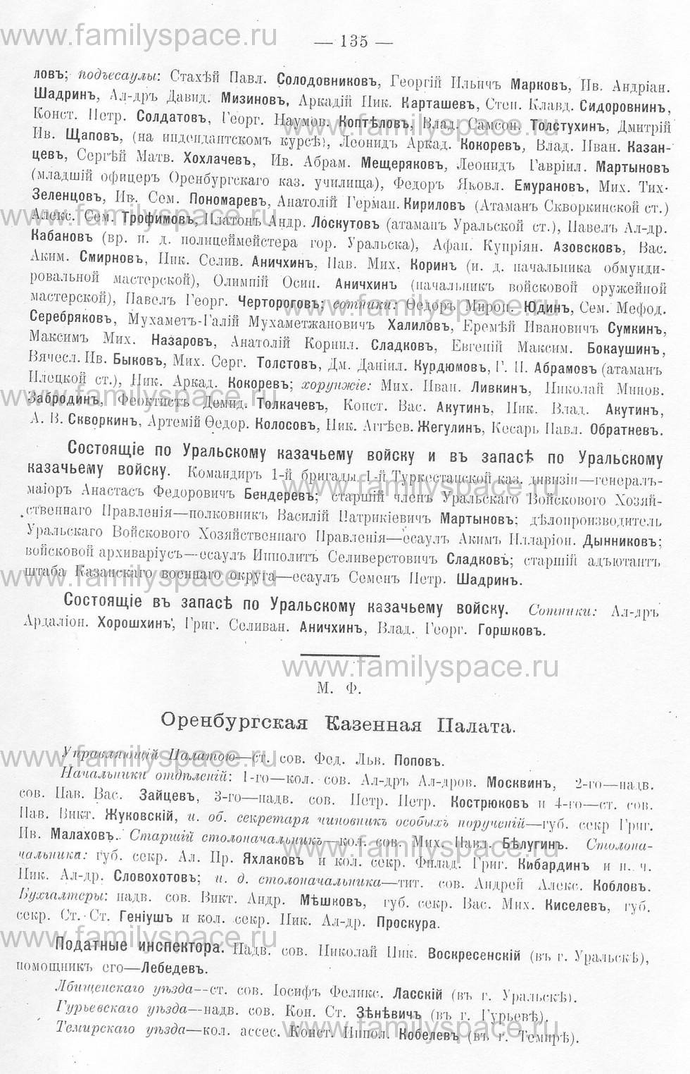 Поиск по фамилии - Памятная книжка Уральской области на 1913 год, страница 135