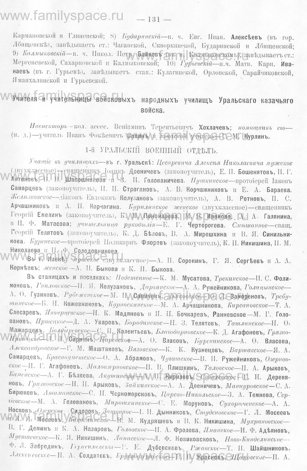 Поиск по фамилии - Памятная книжка Уральской области на 1913 год, страница 131