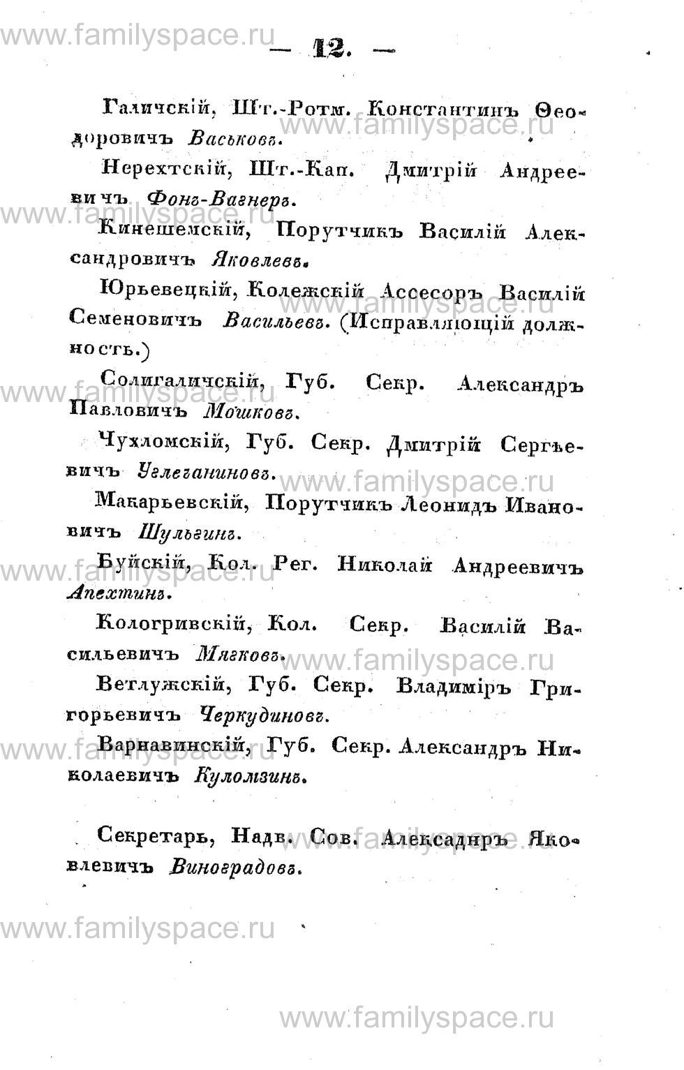 Поиск по фамилии - Памятная книжка Костромской губернии на 1853 год, страница 12