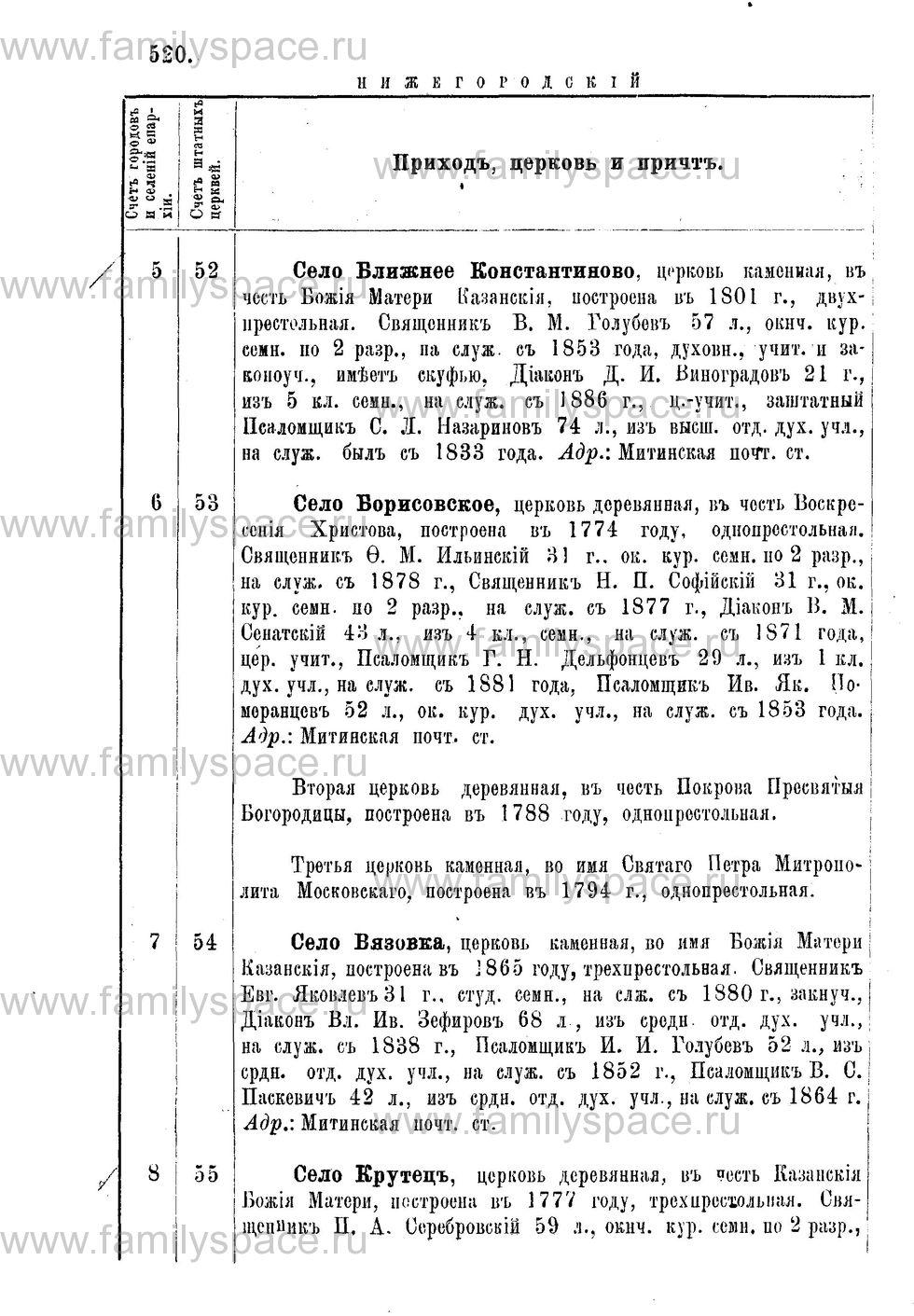 Поиск по фамилии - Адрес-календарь Нижегородской епархии на 1888 год, страница 1520