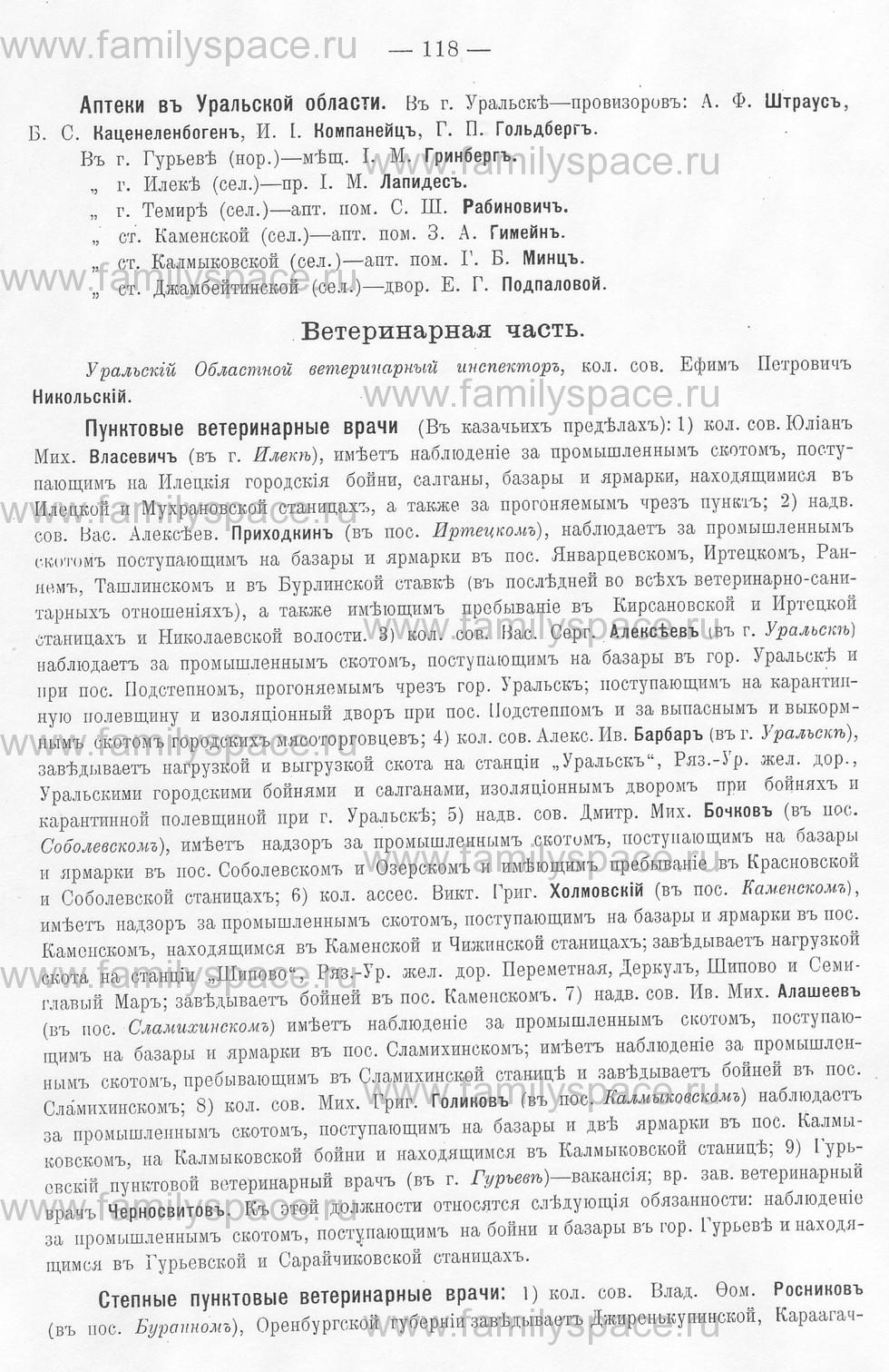 Поиск по фамилии - Памятная книжка Уральской области на 1913 год, страница 118