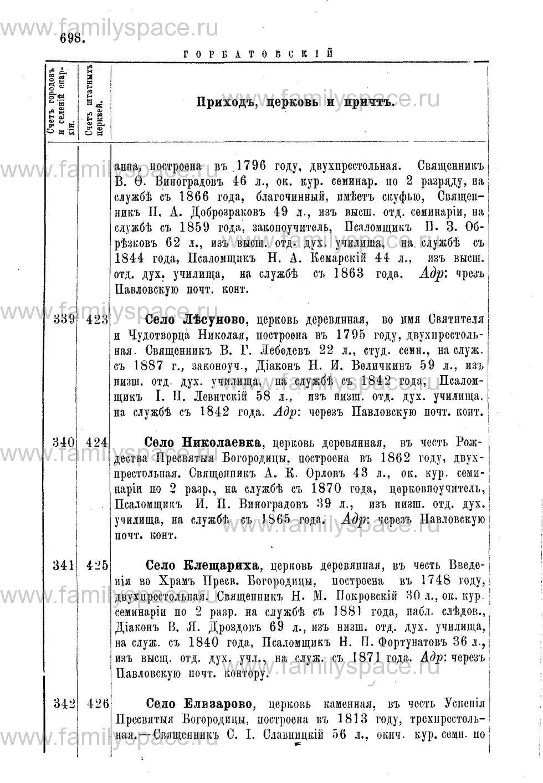 Поиск по фамилии - Адрес-календарь Нижегородской епархии на 1888 год, страница 1698