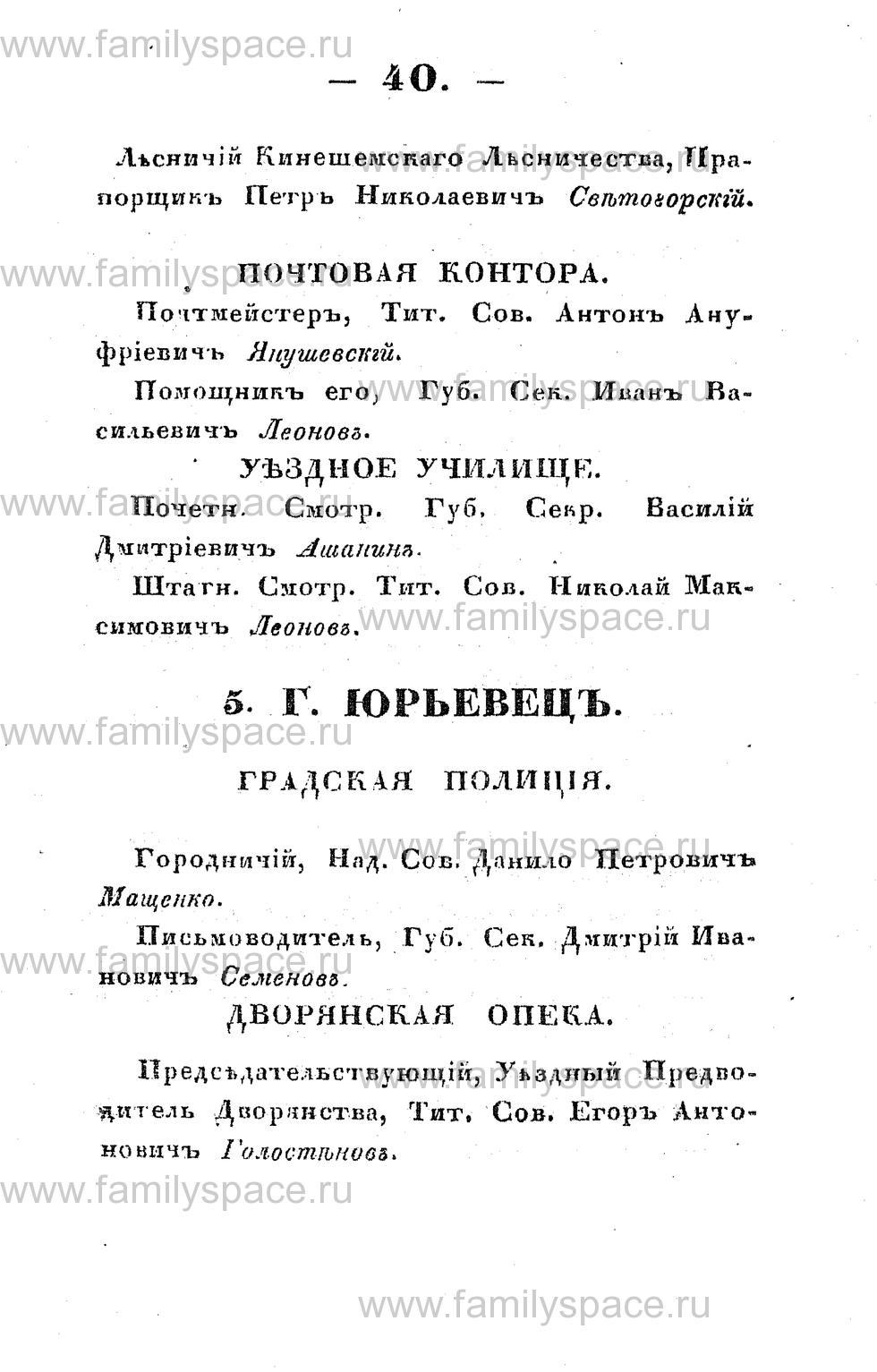 Поиск по фамилии - Памятная книжка Костромской губернии на 1853 год, страница 40