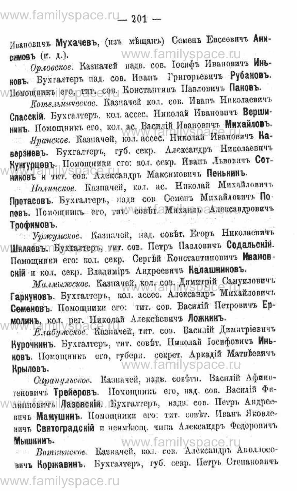 Поиск по фамилии - Календарь Вятской губернии на 1882 год, страница 203