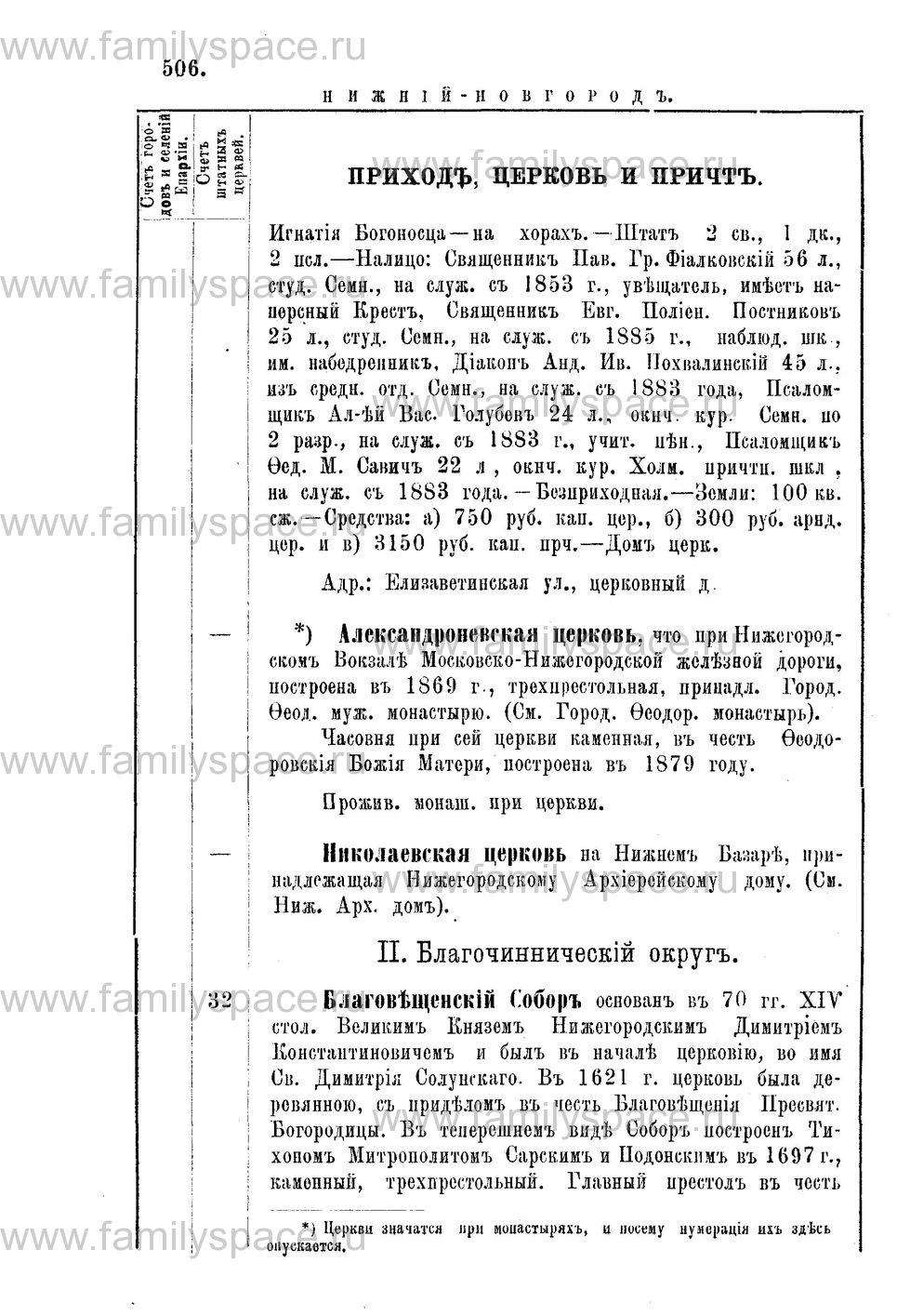 Поиск по фамилии - Адрес-календарь Нижегородской епархии на 1888 год, страница 1506