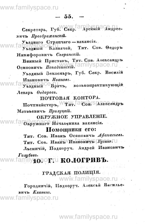 Поиск по фамилии - Памятная книжка Костромской губернии на 1853 год, страница 55